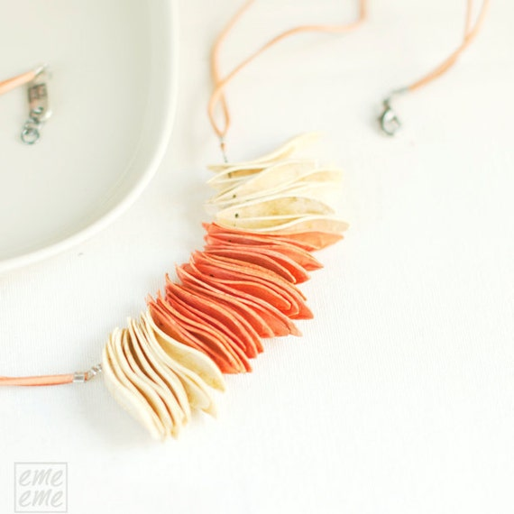Necklace Orange and Natural Cedrela Calantas pod beads