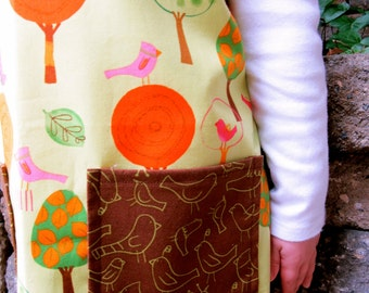 Lime Green and Brown Birds Child Apron