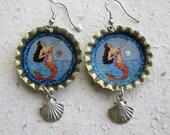 Bottle Cap Earrings Loteria Card La Sirena - The Mermaid