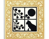 Cat in Window Tile with Gold Victorian Border for Wall Plaque, Kitchen Backsplash or Bathroom Tile by Besheer Art Tile (CA-5G)