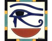 Eye of Horus Tile for Wall Plaque, or Kitchen Backsplash by Besheer Art Tile (EG-7)