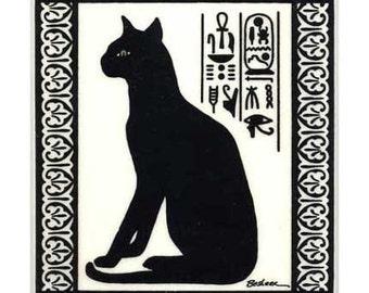 Egyptian Cat for Wall Plaque, Kitchen Backsplash Tile or trivet by Besheer Art Tile (EG-8)