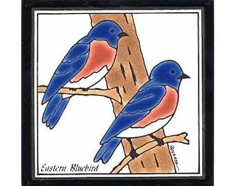 BlueBird for Wall Plaque, Kitchen Backsplash Tile or Bathroom Tile by Besheer Art Tile (BRB-15)