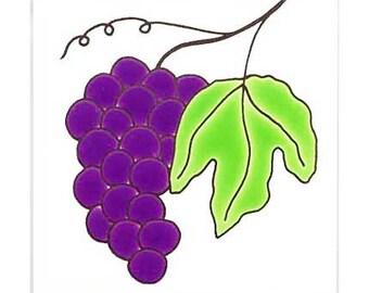 Grapes for Wall Plaque, Trivets or in a Kitchen Backsplash Tile by Besheer Art Tile (152)