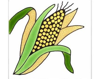 Corn for Wall Plaque, or Kitchen Backsplash Tile by Besheer Art Tile (168)