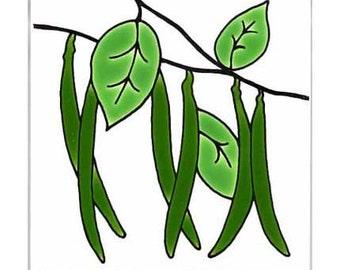 Green Beans for Wall Plaque, or Kitchen Backsplash Tile by Besheer Art Tile (169)