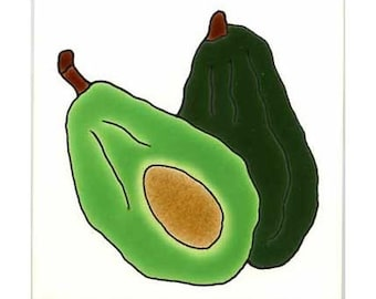 Avocado for Wall Plaque, or Kitchen Backsplash Tile by Besheer Art Tile (177)