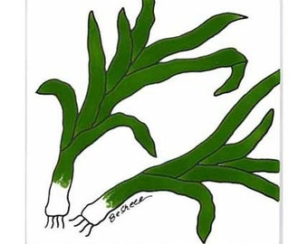 Scallions-Green Onions for Wall Plaque, or Kitchen Backsplash Tile by Besheer Art Tile (214)