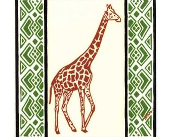 Giraffe for Wall Plaque, or Kitchen Backsplash Tile by Besheer Art Tile (AF-7)