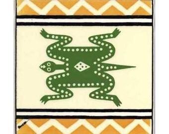Lizard for Wall Plaque, or Kitchen Backsplash Tile by Besheer Art Tile (AF-8)