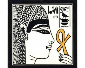 Queen Nefertari Egyptian for Wall Plaque, or Kitchen Backsplash Tile by Besheer Art Tile (EG-1)