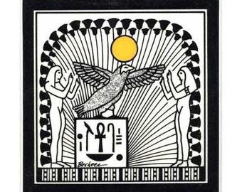 Winged Horus for Wall Plaque, or Kitchen Backsplash Tile by Besheer Art Tile (EG-5)