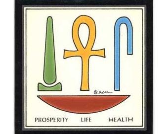 Life-Health-Prosperity for Wall Plaque, or Kitchen Backsplash Tile by Besheer Art Tile (EG-6)