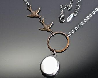 Bird Necklace White Glass Swallows.