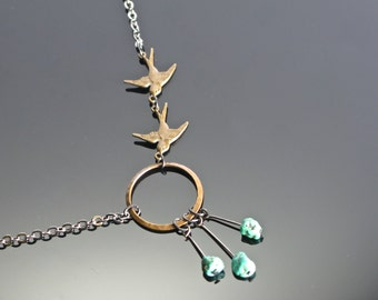 Swallow Necklace with Turquoise.