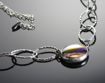Stained glass necklace link chain by Monica van der Mars