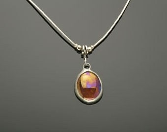 N1 Stained Glass on Liquid silver necklace available in 11 different colors listed in description.