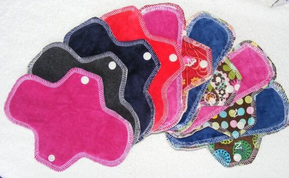 Starter kit of 8 reusable cloth menstrual pads Perfect stash for Diva Cup backup