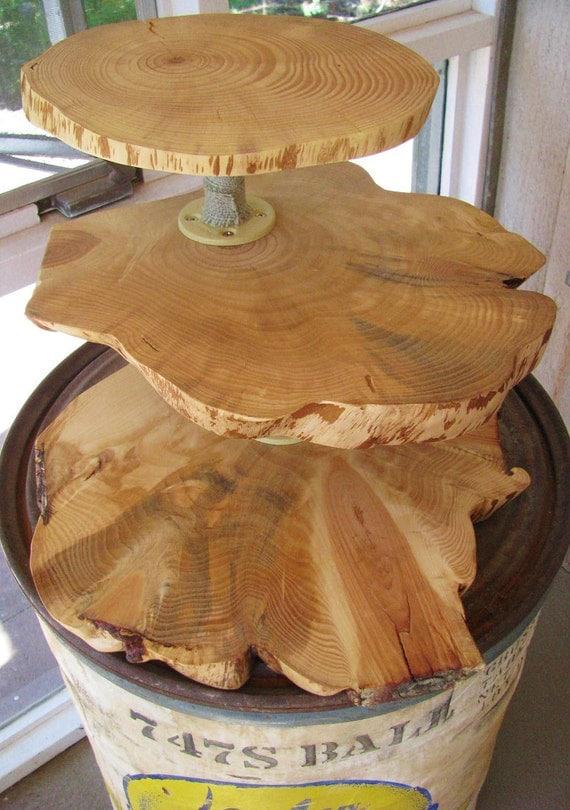 Wood Slab Wedding Cupcake Stand 3 Tiers