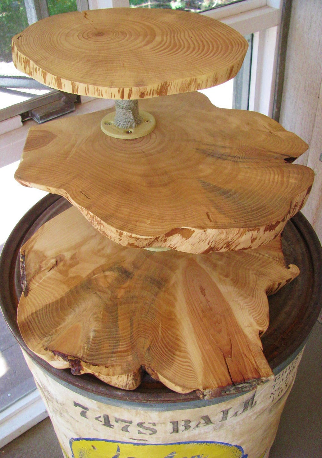 Wood Slab Wedding Cupcake Stand 3 Tiers