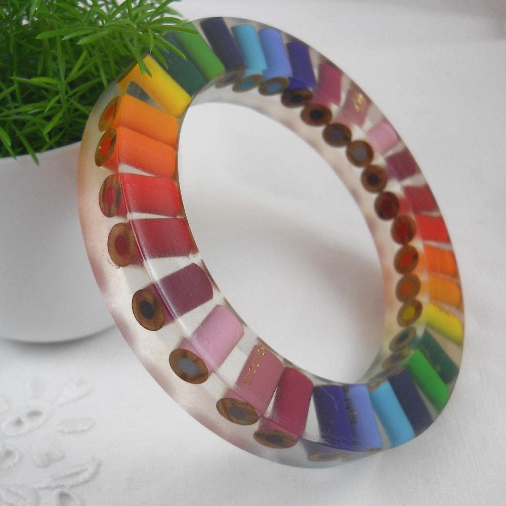 Resin Bangle Bracelet Colored Pencil Bangle Bracelet