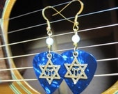 Jewish guitar pick earrings