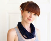 Navy Blue Handmade Tshirt Scarf Necklace Upcycled Recycled Eco Friendly
