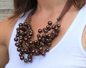 Autumn Brown Pearl Handmade Wire Crochet Bib Necklace Fall Colors