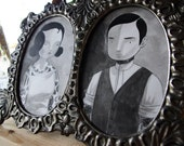 Romantic Old-Timey Tattooed Lovers framed original paintings