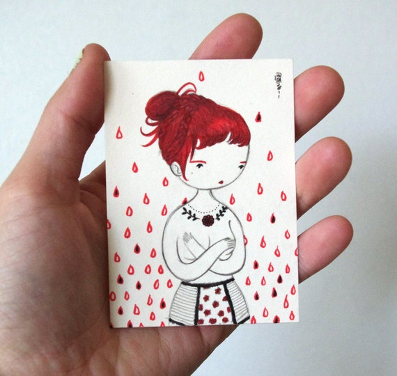 Reserved for Nichol -  ACEO - original watercolor painting - Ms. Rosehips
