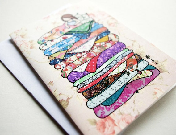 Princess and the Pea cute little blank greeting card girl and blankets