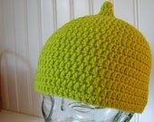 Pointed Pea Green Elf Hat Hand Crocheted