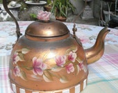 Hand Painted Pink Roses Vintage Copper Kettle Teapot Cottage Charm