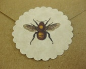 Vintage Bee Stickers Eco-Friendly Envelope Seals Set of 48