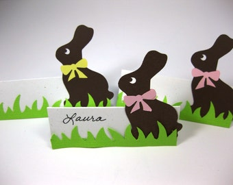Easter Table Place Cards - Chocolate Bunny Easter Name Cards - Easter Buffet Cards - Dimensional Paper Easter Decor