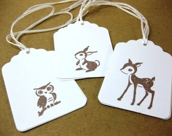 Baby Bunny, Baby Deer, and Baby Owl Woodland Animal Gift Tags Set of 9