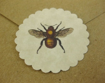 Vintage Bee Stickers Eco-Friendly Envelope Seals Set of 24