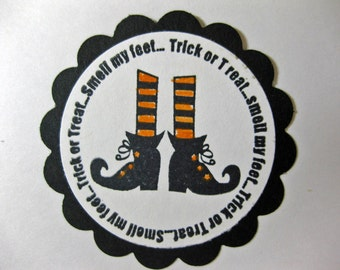 Halloween Stickers - Trick or Treat Smell My Feet - Envelope Seals - Treat Bag Stickers - Set of 6