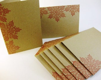 Eco-Friendly Holiday Note Cards and Envelopes Set of 6 Snowflake Design Thank you