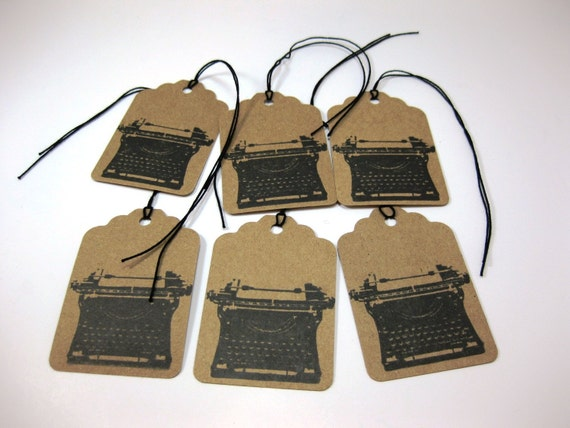 Eco Friendly Gift Tags Set of 6 Vintage Retro Typewriter QueenBeeInspirations