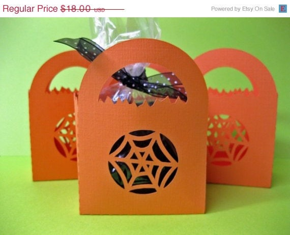 Custom Listing for Irulansmom ON SALE Halloween Treat Bags - Spider Web Cut-Out Set of 38
