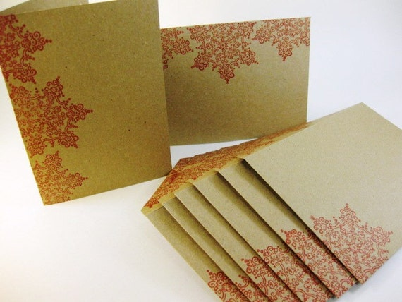 Snowflake Note Cards and Envelopes Set of 6 Snowflake Design Thank you Kraft Paper QueenBeeInspirations
