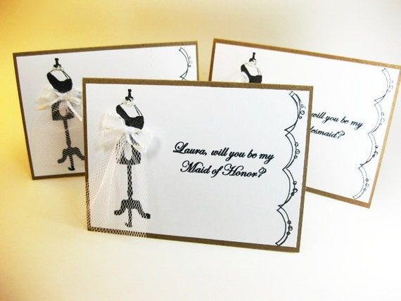 Will You Be My Bridesmaid / Maid of Honor / Matron of Honor / Flower Girl / Card / Personalized with Names / QueenBeeInspirations
