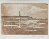 original etching with aquatint of a lighthouse