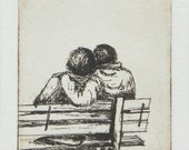 original etching of a romantic couple on a park bench