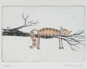 cat in a tree - original etching and watercolor