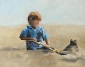 giclee art print of a boy building a sand castle
