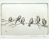 original etching and aquatint of birds on a branch
