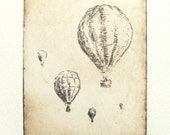 original etching of hot air balloons