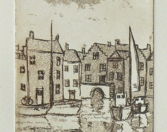 original etching of a harbor town